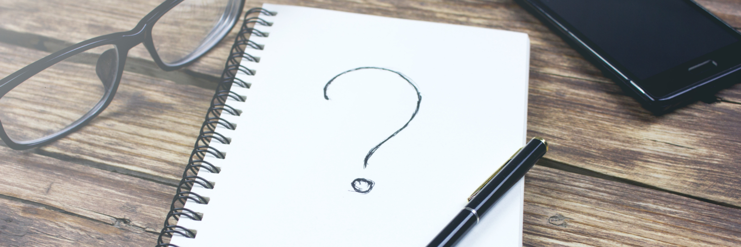 notebook with question mark